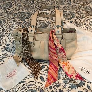 Off White Pebbled Leather Coach Purse
